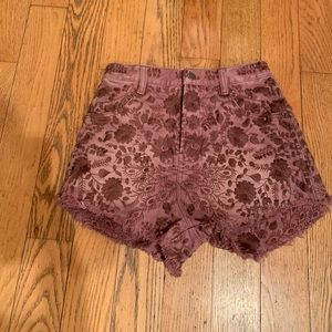 Free people mauve floral hi waisted shorts